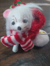 New listing Annalee Doll Toy Mouse in santa claus hat ornament Christmas white mini holiday