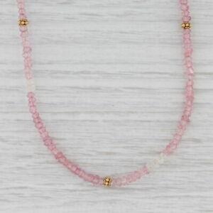 """New Nina Nguyen Pink Topaz Bead Necklace Sterling Gold Vermeil Adjustable 36"""""""
