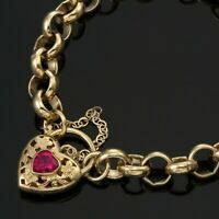 18K Yellow Gold GL Ladies Solid CHUNKY Belcher Bracelet & Ruby Red Heart Padlock