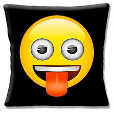 "Funny Emoji Emotion Smiley Face Tongue Out Black Yellow 16"" Pillow Cushion Cover"