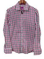 Michelsons London Mens Medium M Long Sleeve Paisley Flip Cuff Plaid Shirt
