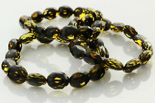 Lot of 3 Faceted Olive Beads Genuine Baltic Amber Stretch Bracelet 26.3g b0913-8