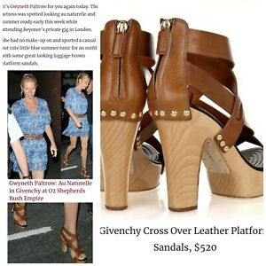 GIVENCHY 38.5 8 Brown Leather Strappy Gladiator Ankle Zip Wood Heel Boot Sandals