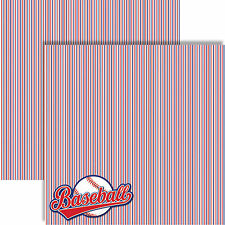 Reminisce ALL AMERICAN Dbl-Sided (2pc) Scrapbooking Paper BASEBALL