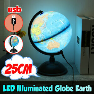 25cm Office Desk Lamp World Map Earth Globe Touch Light Table Home Decor