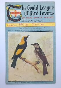 1950 GOULD LEAGUE OF BIRD LOVERS NSW MEMBERSHIP CERTIFICATE