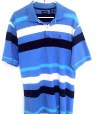 Izod Men's Blue Striped Polo Golf Short Sleeve Shirt 100% Cotton Size Large $50