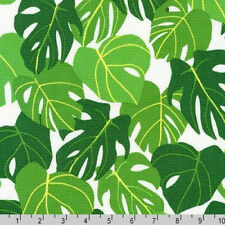 BY YARD-Sunporch Philodendron Leaf Leaves Robert Kaufman Fabric 17673-1 White
