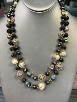 "1950's Ab Black Gold Lucite Beaded Two Strand Pearl Necklace 22"" W Germany"