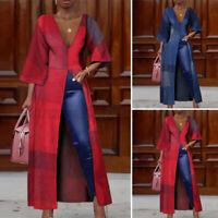 Womens 3/4 Sleeve Asymmetric Shirt Long Maxi Tops Printed Tunic Oversized Blouse
