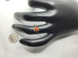 Vintage 18K Yellow Gold And Red Coral Ring, Size 5.5, 1.6 Grams