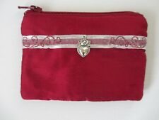Handcrafted Custom  Rosary Pouch ruby red silk with silver heart