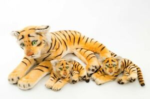 """Set of 3 Vintage 1950s Steiff Stuffed Animals Large Tiger & Two Cubs 32"""" German"""