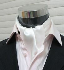 Men Wedding Formal Cravat Ascot Scrunch Ruche Self Neck Tie Solid White