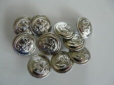10 SILVER COLOURED METAL ANCHOR BUTTONS SIZE 24 (14mm)
