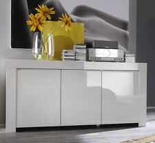 Credenza madia buffet moderna 3 ante modello Amalfi bianco laccato lucido sala