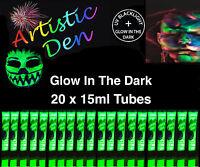 20 x15ml UV NEON  GLOW IN THE DARK FACE & BODY PAINT 2 in 1 By  Artistic Den **