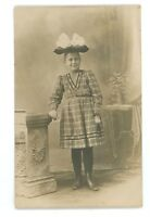 RPPC Young Woman, Plaid Dress Bow in Fashion Hat Real Photo Postcard