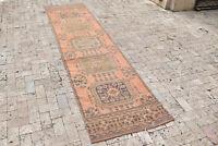 Turkish Rug 32''x124'' Oushak Oriental Rug Runner Vintage Wool Hallway Rug 2x10