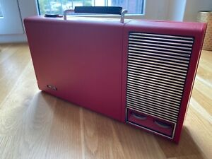 Philips Kofferplattenspieler vintage, rot, 70er, - Vinyl PLATTENSPIELER