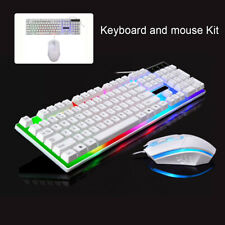 Gaming Keyboard Mouse Set Rainbow LED Wired USB For PC Laptop Xbox One 360UK