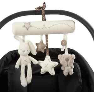 Kid Baby Crib Cot Pram Bed Stroller Hanging Plush Toy Rabbit Bear Bell& Music AU