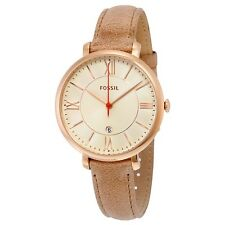 NEW FOSSIL JACQUELINE ROSE GOLD TONE,TAN CAMEL MAUVE LEATHER BAND,WATCH ES3487