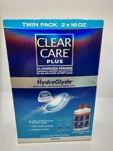 Clear Care Plus Cleaning Solution Twin Pack HydraGlyde 2 X 16 Ounces NIB