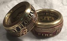 Red Multi Color Powder Coated St. Florian Firefighter Challenge Coin Ring