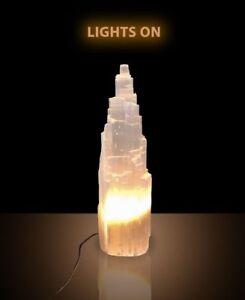 Large Selenite Skysraper Tower Lamp Crystal Healing Wellness  40cm