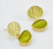 Ottoman Gems semi precious gem stone gold plated earring Cat eye Turkish handmad