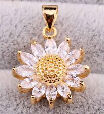 18K Gold Filled - Clear Zircon Gemstone Sun Flower Cat Eye Wedding Girls Pendant