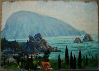 Russian Ukrainian Soviet Oil Painting Seascape pointillism mountains cliff