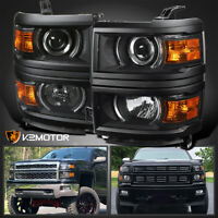 Black For 2014-2015 Chevy Silverado 1500 Projector Headlights Left+Right Lamps