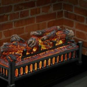 NEW Portable Electric Fireplace Logs w/ Cracking Sound Fire Log Insert Grate LED
