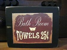Bath Room Towels Country Primitive Rustic Wooden Sign Block Shelf Sitter 3.5X4.5