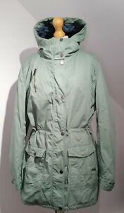 Fat Face UK 18 Green Cotton Parka Coat Hooded Drawstring Waist Outdoors