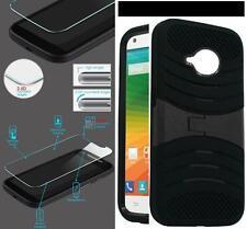 NP ARMOR Glass Screen Guard + Case For Motorola Moto E (2nd Gen) XT1527 uBLk/BLK