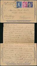 FRANCE 1938 STATIONERY LETTERCARD UPRATED to AUSTRIA PAUL NELS