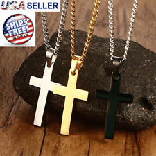 Cross Pendant Necklace Stainless Steel Silver Gold Crucifix Men Women Cuban New