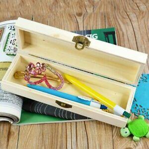 Pencil Box Handmade Wooden Pen Case Storage Organizer Gift Base Art Decor