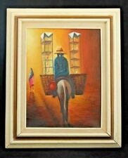 Vntg Framed Painting Art Decor Collectible South American Signed Bird Seller