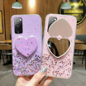Glitter Case For Samsung A21S S20 FE S10 Note20 Ultra A71 A51 Stand Holder Cover