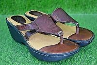 BOC Brown Pebbled Leather Wedge Sandals Women's Size 7