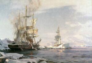 "John Stobart Print - Arctic Whaling: The Whaling Bark ""Sunbeam"" Cutting In"