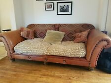3 seater brown leather sofa used