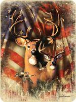 45x60 Super Soft Blanket Patriotic Flag Deer Buck Hunting Throw Plush Faux Fur