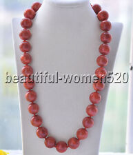 Z8656 18mm Natural Round Red Coral Bead Necklace Cougar CZ 24inch