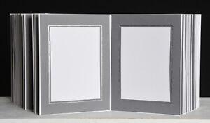 Bildermappe / Leporello - Grau mit silberner Linie für 50 Fotos 13x18 - LG139S