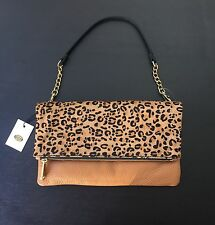 Fossil Erin Foldover Clutch/bag **NEW W TAGS $299 + DUST BAG**  Leopard Cheetah